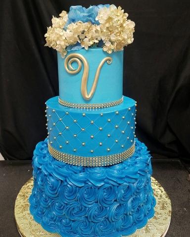Blue V Cake