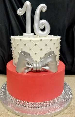 Silver and Red Cake