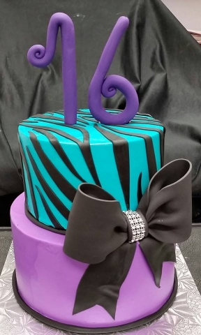 Purple Teal and Black Cake