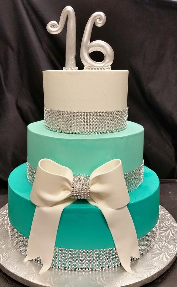 Teal and White Cake