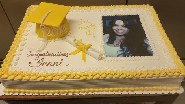 Yellow Graduation Cake