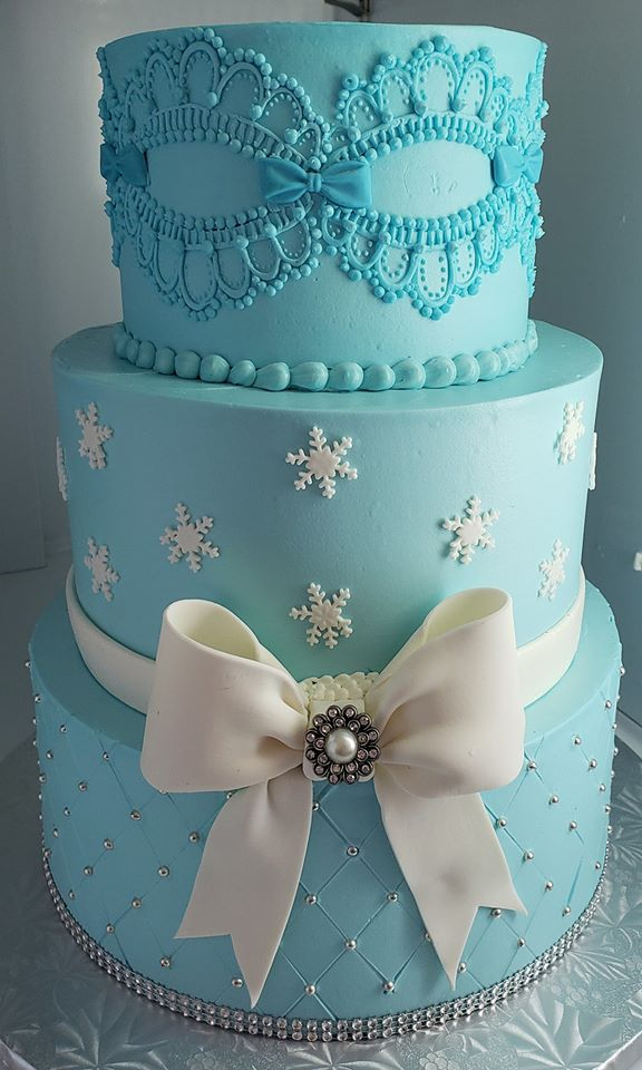 Blue Cake with White Bow