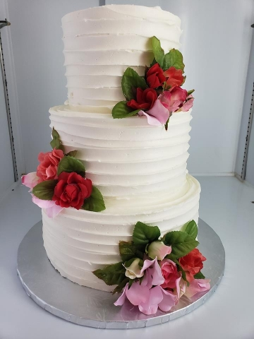 White Cake with Flowers